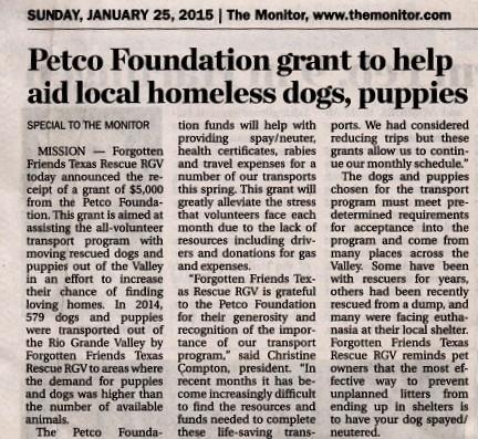 PETCO Grant January 2015